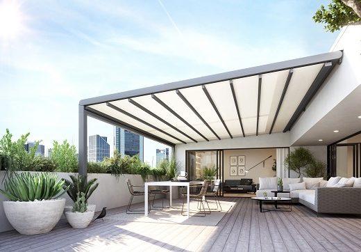 Großflächenbeschattung Pergola stretch im Penthouse